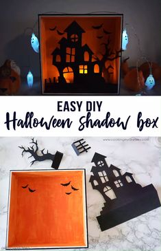 This is what your Halloween decor was missing! A cute wooden Halloween shadow box with a haunted house, a spooky tree an Halloween Shadow Box, Halloween Diorama, Christmas Shadow Boxes, Halloween Haunted Houses, Halloween Art, Halloween With Kids, Haunted House For Kids, Halloween Wood Signs, Rustic Halloween