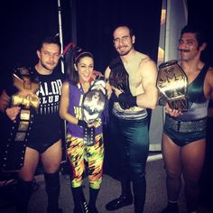 NXT Champion Finn Balor, NXT Women's Champion Bayley, NXT Tag Team Champions The Vaudevillans Aiden English and Simon Gotch