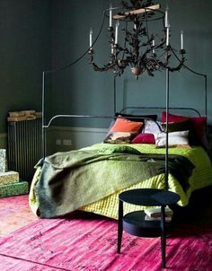 Decorating ideas for dark rooms. dark moody bedroom interior design with bright green and red accents Bedroom Green, Bedroom Colors, Bedroom Decor, Bedroom Ideas, Master Bedroom, Jewel Tone Bedroom, Colourful Bedroom, Mirror Bedroom, Green Bedding