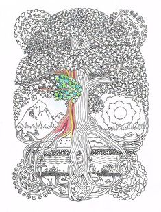 Adult Coloring Page  Peace Sign Tree  Printable by CandyHippie