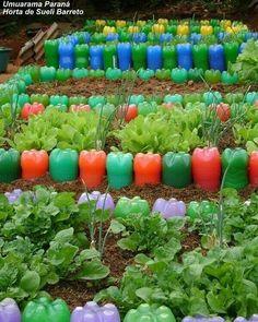 Diy Garden Bed, Garden Crafts, Garden Projects, Vegetable Garden, Garden Art, Plastic Bottle Crafts, Recycle Plastic Bottles, Garden Landscape Design, Garden Landscaping
