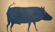 """childrenofthecart: """" Bill Traylor Untitled Black Male Boar with Curly Tail 15 ½ x 25 ½ inches c. Poster paint and pencil on found cardboard """" History Of Modern Art, Alabama, Pig Drawing, Pig Art, Art Brut, Wild Creatures, Visionary Art, Outsider Art, New Blue"""