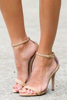 At My Best Nude Ankle Strap Heels at reddressboutique.com