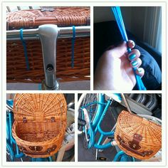 Home made bike basket 1.a fine basket (i got mine at the thrift shop) 2. Ties