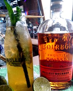 Bulleit Apple Pie Mint Julep (Single Serve). Our novelty this week. Yummy. Just try.  4cl Bulleit Bourbon Whiskey, 12 cl apple juice, 1 cl maple syrup, lime juice, mint
