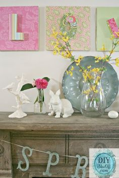 Spring mantel and styrofoam wall art @ DIY Show Off