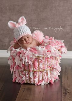 Newborn Bunny Hat and Tail Set Pink and White Removable Pink Crocheted Pink Bow Easter