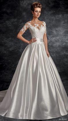 ira koval 2017 bridal half sleeves sweetheart neckline heavily embellished bodice satin skirt elegant a  line wedding dress lace button back chapel train (630) mv -- Ira Koval 2017 Wedding Dresses