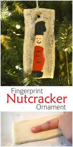 Easy Christmas Craft for kids this Fingerprint Keepsake saltdough nutcracker ornament is the perfect addition to your Christmas Tree this year Nutcracker Crafts, Nutcracker Ornaments, Nutcracker Christmas, Diy Christmas Ornaments, Handmade Christmas, Christmas Tree Decorations, Kids Ornament, Homemade Ornaments, Christmas Crafts For Kids To Make