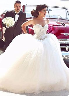 Amazing Tulle Sweetheart Neckline Ball Gown Wedding Dress With Lace Appliques & Beading