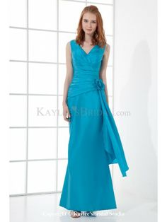 Taffeta V-Neckline Sheath Floor Length Hand-made Flower Prom Dress