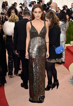 Riley Keough attends the 2016 Met Gala wearing custom Diane Von Furstenberg