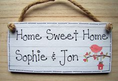 ❤ PERSONALISED HOME SWEET HOME Shabby Chic house warming gift wall plaque sign ❤