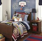 Here's a fun sports bedroom theme for little boys who love all kinds of sports. Discover more kids room decorating and organizing tips and ideas @ http://kidsroomdecorating.net