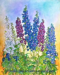 """""""Delphinium Blue"""" Painting with prints available at http://fineartamerica.com/featured/delphinium-blue-janet-immordino.html"""