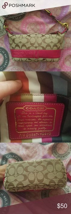 Coach Purse Authentic Coach design. Beautiful bright pink trim and handle. One small black stain on interior and slight bunching of pink leather trim, this bag is in great condition and so cute! (Scarf not included, no dust bag either) Coach Bags Mini Bags