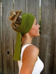 The Infinity Head Scarf In Moss Green Rayon Cotton by HillNTrees