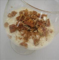 This is one of my favorites on the South Beach diet. I usually eat this for breakfast or for a snack; it really satisfies my sweet tooth. For those on South Beach, count the pecans as part of your daily nut allowance. Atkins Recipes, Low Carb Recipes, Diet Recipes, Cooking Recipes, Healthy Recipes, Bariatric Recipes, Protein Recipes, Vegan Keto Diet, Low Carb Keto