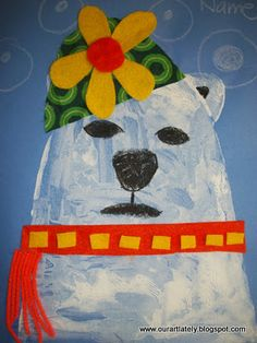 It would be fun to make the polar bear with potato stamps.  The product will be smaller scale, of course.