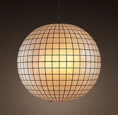 "Capiz natural Shell/bl. matt metal grid Pendant 30"" diam.  72"" chain.  1x73watt halogen.  Change to LED?"