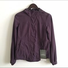 Eddie Bauer Hooded Snowfoil Jacket - Purple Great water repellent jacket for ski or snowboard! Adjustable hems and cuffs. Adjustable hood. Front zipper pockets. Inside Velcro pocket. Stormrepel DWR finish repels snow and rain. Wind-resistant and breathable. Can add a removable fleece (not included) for a 3-in-1 jacket. Color is called royal plum, which is a lovely purple. Eddie Bauer Jackets & Coats