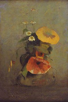 Odilon Redon - Vase with Poppy, Camomile and Bindweed Art Floral, Painting Still Life, Still Life Art, Art And Illustration, Flower Vases, Flower Art, Odilon Redon, Rembrandt, Oeuvre D'art