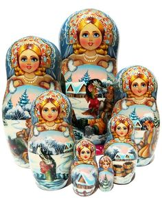 Winter scenes from At the Pikes Behest folk tale are painted on 7 piece Russian nesting doll. One-of-a-kind masterpiece. Free shipping on U.S. orders.