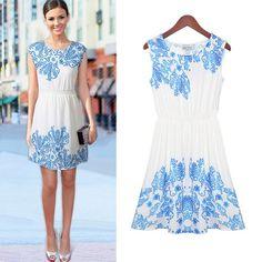Women 2014 Summer New Sleeveless Neck Slim Printing Blue and White Dress (S) ladyhouse http://www.amazon.com/dp/B00KGT1C0C/ref=cm_sw_r_pi_dp_1quVtb0BXVFACG5P