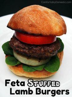 Feta Stuffed Lamb Burgers | ComfortablyDomestic.com