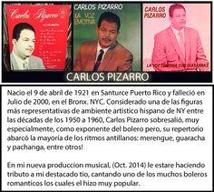 """La Voz Emotiva de Carlos Pizarro, talentoso Boricua muy admirado en las decadas 1950-1960 es tio de Jorge Laureano, al quien le brinda tributo en su nueva produccion musical titulada... """"Como Nuevo"""" - Jorge Laureano"""