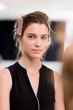 Model Eliza Hartmann backstage at Lela Rose NYFW SS16 9-14-15