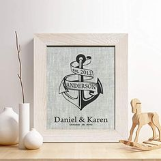 Personalized Linen Anniversary Gift for Him or Her, Anchor and Surname Linen Print, Gifts for Husband and Wife. This design is printed on high quality uncolored grey linen fabric, and makes the perfect gift for anniversary or any occasion. 4th Anniversary Gifts, Gifts For Husband, Poster Prints, Posters, Linen Fabric, Anchor, Place Card Holders, Frame, How To Make