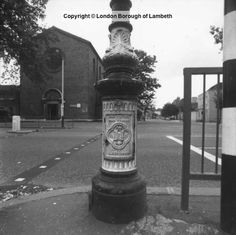 """Victorian Lamppost Embossed """"The Vestry of the Parish of Lambeth"""" Kennington Cross with St Anselm's Church Opposite South London, Old London, New South, Chesters Way, The Locals, Old And New, Old Photos, Victorian, Display"""
