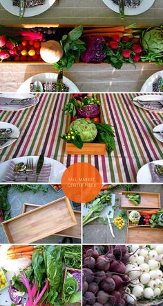 Market Fruit & Vegetable Centerpiece. Boxes for creating the centerpiece found at The Container Store.
