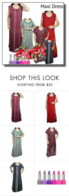 """""""Women Summer Cotton Maxi Nighty"""" by lavanyas-trendzs ❤ liked on Polyvore featuring Kat Von D"""