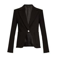 Diane Von Furstenberg Flynn blazer (11,305 MXN) ❤ liked on Polyvore featuring outerwear, jackets, blazers, black, metallic jacket, cropped jacket, cropped blazer jacket, tux blazer and tuxedo jacket