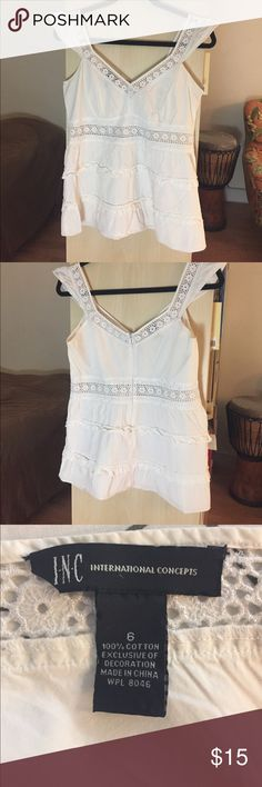 V-neck Bohemian top This white hippie top has gorgeous detail. Great for a spring or summer day with jeans or a printed skirt. INC International Concepts Tops