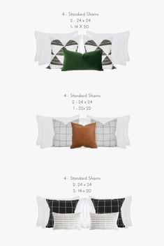 We are sharing our tips and favorite way to style pillows using different shapes and combinations. Bed Cushions Arrangement, Bedding Inspiration, Small Master Bedroom, Bed Styling, Bed Pillows, Cushions On Bed, Home Decor Bedroom, Decoration, Shapes