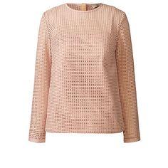 Orla Kiely   UK   Clothing   SALE - Tops   Grid Eyelet Long Sleeve Top (15AWGDE421)   Tea Rose