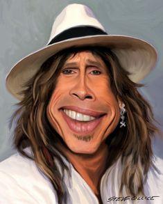 Steven Tyler of Aerosmith Steven Tyler, Cartoon Faces, Funny Faces, Cartoon Art, Funny Caricatures, Celebrity Caricatures, Caricature Drawing, Drawing Art, Celebrity Drawings