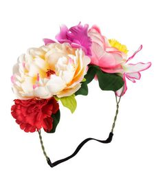 Hair decoration with large fabric flowers attached to plastic-covered metal wire. Dead Makeup, Barrettes, Hair Decorations, Bandeau, Trendy Hairstyles, Headdress, Flower Crown, Fabric Flowers, Women's Accessories