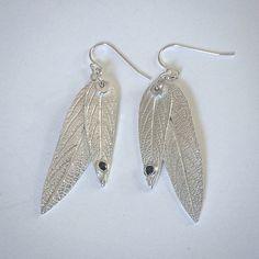 sage leaf earrings, sage earrings, silver sage leaves, blue sapphire earrings, lynn cobb, gardener gift, chef gift, herbalist gift, florist  by lynncobb, $105.00 USD