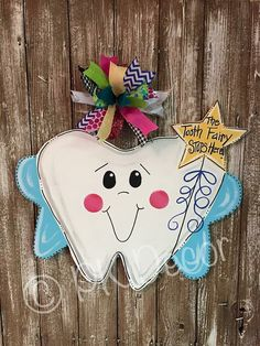 Tooth Fairy Door Hanger - Tooth Chart on back to Record - Loose Tooth - Baby Tooth - Kid's Door Decor - Unique Gift First Lost Tooth Painted Doors, Wood Doors, Dental Office Decor, Nurse Office, Tooth Fairy Doors, Tooth Chart, Loose Tooth, Wood Wreath, Wall Candy