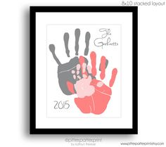 Handprint Family Portrait Art, Gift for New Dad First Father's Day, Custom Home Decor, Personalized with Your Actual Hands, in UNFRAMED Personalized Hand Print Family Portrait Gift by PitterPatterPrint Diy Christmas Gifts For Family, Family Crafts, Baby Crafts, Toddler Crafts, Kids Crafts, Mothers Day Crafts For Kids, Fathers Day Crafts, Gifts For New Dads, Handprint Art