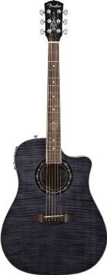 Fender T-BUCKET-300CE Dreadnought Acoustic-Electric Guitar, Flame Maple Top, Transparent Black From Fender