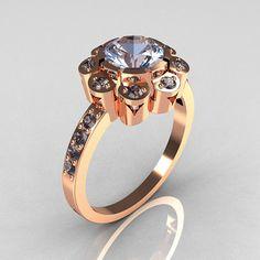 Modern Edwardian 14K Rose Gold 1.0 CT Round Blue Topaz Engagement Ring R80-14KRGBT