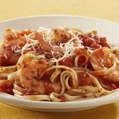 Shrimp Pasta with Spicy Tomato Sauce Recipe from RecipeTips.com!