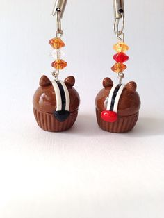 Chip & Dale Disney Inspired Cupcake Polymer Clay Charm.
