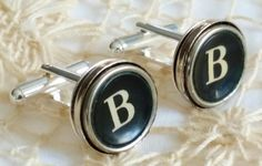 Silver B Cufflinks Mens Jewelry Typewriter Key Cuff by FunkyTypes