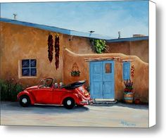 & RIde& is an 11 & oil painting inspired by a view in Taos, New Mexico. The red classic VW beetle with the top down was just inviting and looked ready for a ride. New Mexico Santa Fe, Free Cars, American Muscle Cars, Vw Beetles, Fine Art America, Convertible, Classic Cars, Scale, Around The Worlds